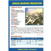 Space Marine Predator Vehicle Data Card from Warhammer 40,000 2nd Edition